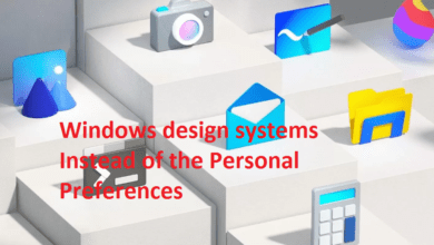 Windows design systems Instead of the Personal Preferences